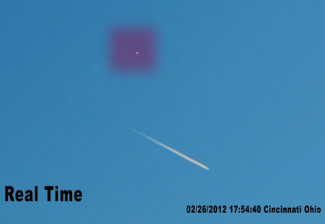 Still Image Extracted From Video. UFO is Enclosed in Magenta Rectangle.