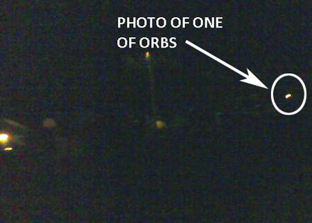 Photo of One of Orbs Taken With Cell Phone.