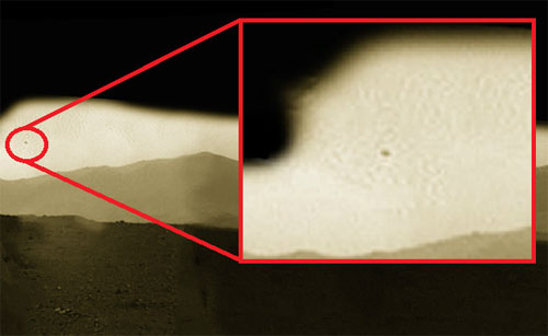 Photo Taken by Mars Rover Possibly of an Airborne Object?
