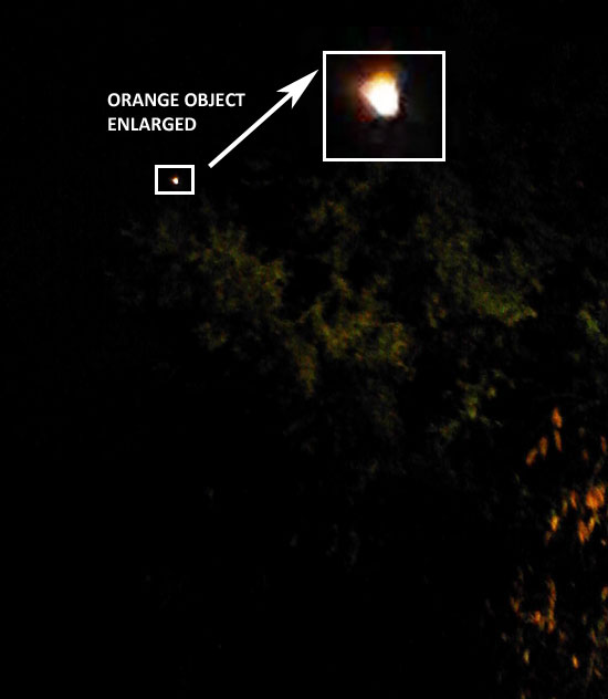 Photo & Enlargement of Orange Light Seen by Witness.