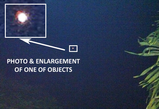 PHOTO & ENLARGEMENT OF 1 OF 6 OBJECTS SIGHTED.