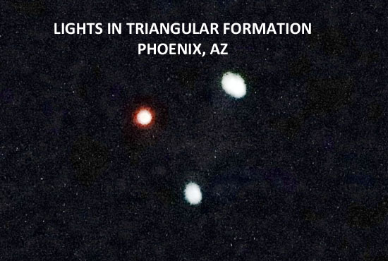 LIGHTS IN TRIANGULAR FORMATION PHOTOGRAPHED IN PHOENIX, AZ.
