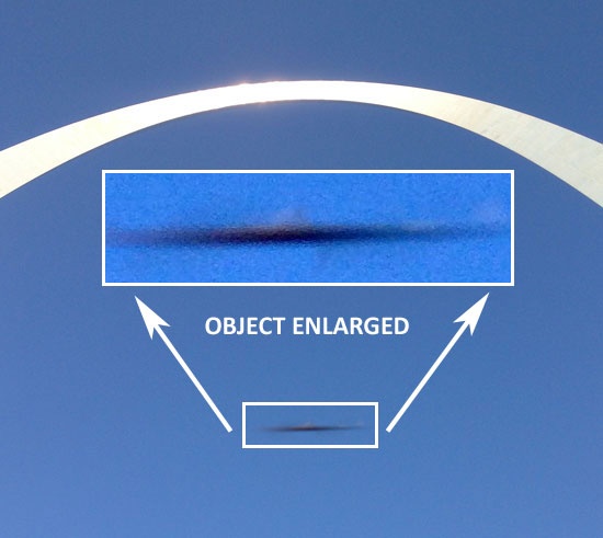 PHOTO & ENLARGMENT OF AIRBORNE OBJECT BELOW ARCH.