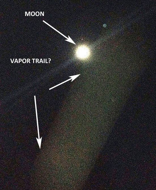 """PHOTO SHOWING """"ALLEGED VAPOR TRAIL"""" & MOON."""
