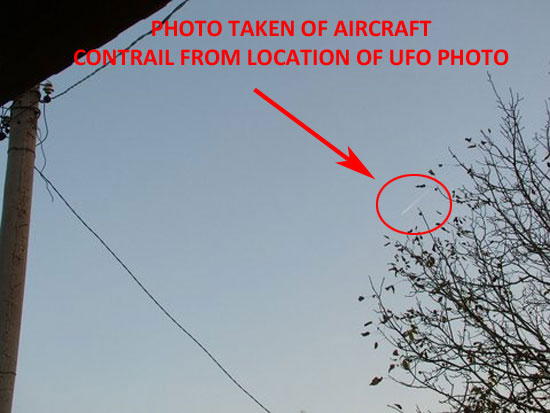 THE WITNESS TOOK A PHOTO OF AN AIRCRAFT CONTRAIL TO SHOW THE DIFFERENCE FROM THE OBJECT THAT HE PHOTOGRAPHED