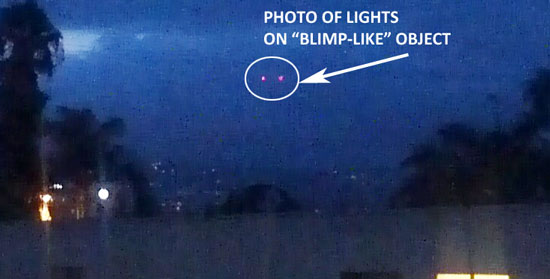 PHOTO OF LIGHTS SEEN ON BLIMP-LIKE OBJECT.