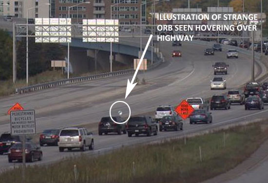 ILLUSTRATION OF STRANGE ORB SEEN HOVERING OVER HIGHWAY.