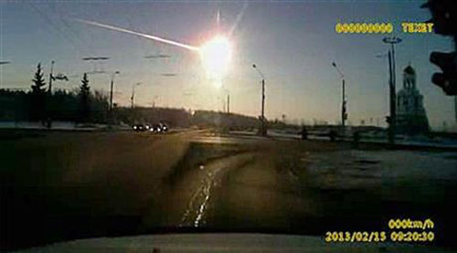 TThis frame grab made from dashboard camera vide shows a meteor streaking through the sky over Chelyabinsk, about 930 miles east of Moscow, Friday, Feb. 15, 2013.