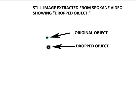 STILL IMAGE OF FLYING ORB DROPPING ANOTHER OBJECT.
