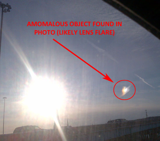 "PHOTO OF ANOMALOUS OBJECT THOUGHT TO BE ""LENS"" FLARE."