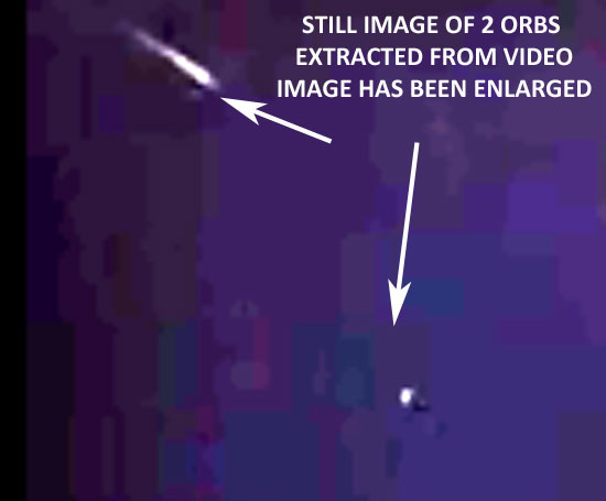 ENLARGED STILL IMAGE OF ORBS EXTRACTED FROM VIDEO.