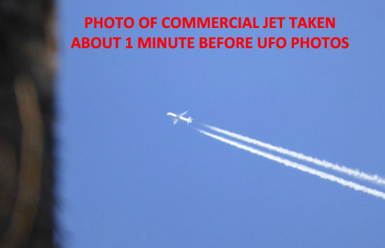 PHOTO OF COMMERCIAL JET TAKEN ABOUT 1 MINUTE BEFORE UFO PHOTOS.