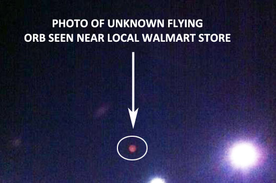 ORANGE ORB SEEN & PHOTOGRAPHED NEAR WALMART STORE.