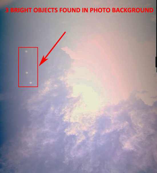 THESE 3 BRIGHT OBJECTS WERE FOUND IN THE BACKGROUND OF THIS PHOTO.