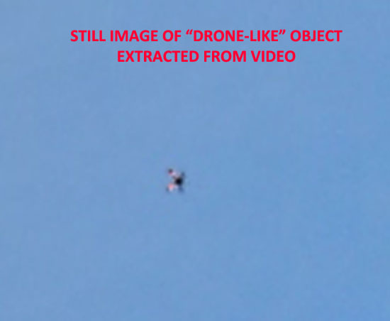"STILL IMAGE OF ""DRONE-LIKE"" OBJECT EXTRACTED FROM VIDEO."
