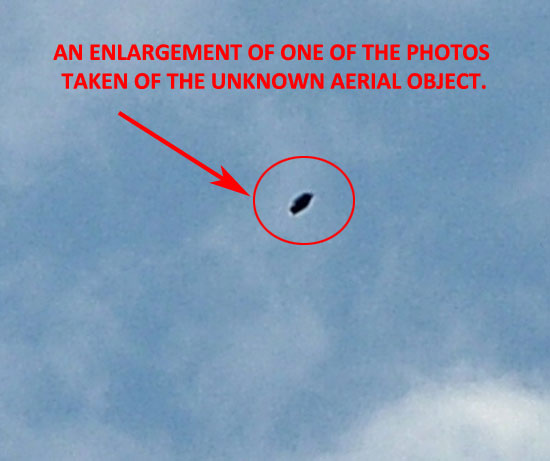 ENLARGEMENT OF 1 OF PHOTOS TAKEN OF UNKNOWN AERIAL OBJECT.