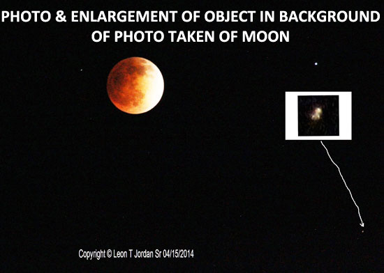 PHOTO & ENLARGEMENT OF OBJECT FOUND IN BACKGROUND OF MOON PHOTO.