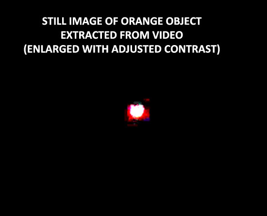 STILL OF ORANGE ORB EXTRACTED FROM VIDEO.