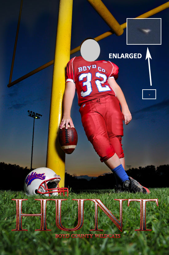 PHOTO OF FOOTBALL PLAYER SHOWING OBJECT & ENLARGEMENT.