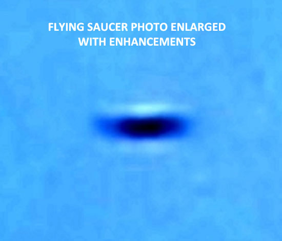 1 OF ENLARGMENTS & ENLARGEMENTS OF FLYING SAUCER PHOTO.