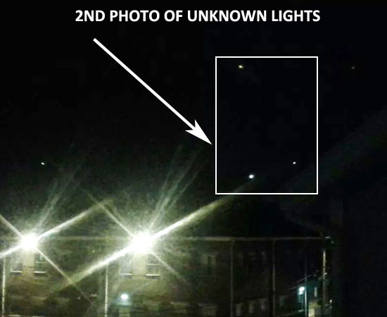 2ND PHOTO OF UNKNOWN AERIAL LIGHTS.