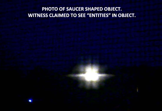 PHOTO OF SAUCER SHAPED OBJECT.