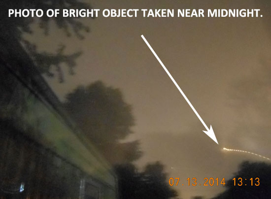 PHOTO OF BRIGHT OBJECT TAKEN NEAR MIDNIGHT.