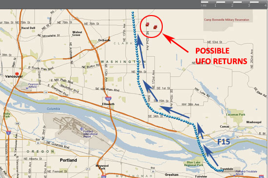MAP SHOWING POSSIBLE UFO RETURNS & FLIGHT OF F15 AIRCRAFT.