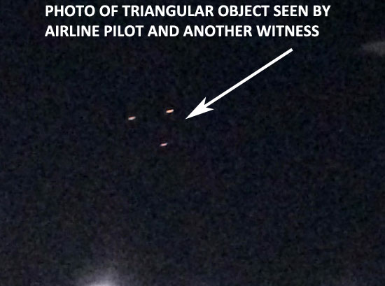 PHOTO OF TRIANGULAR OBJECT SEEN BY AIRLINE PILOT & ANOTHER WITNESS.