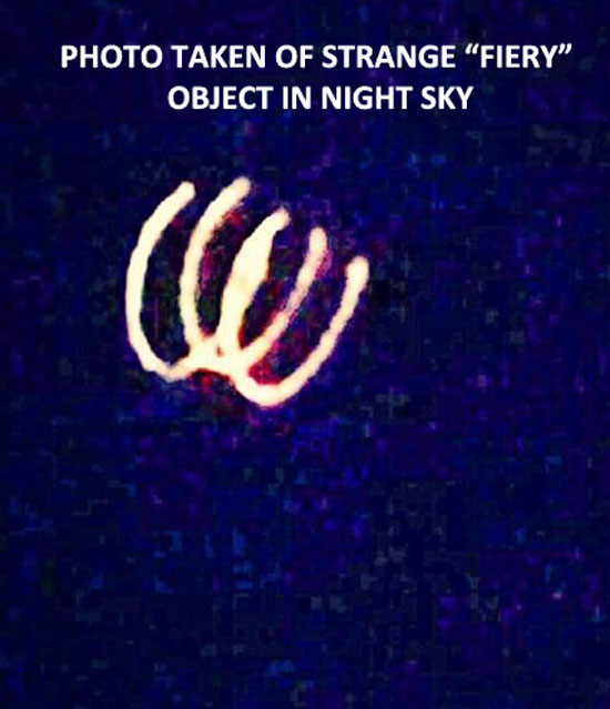 "PHOTO OF STRANGE ""FIERY"" OBJECT SIGHTED IN NIGHT SKY."