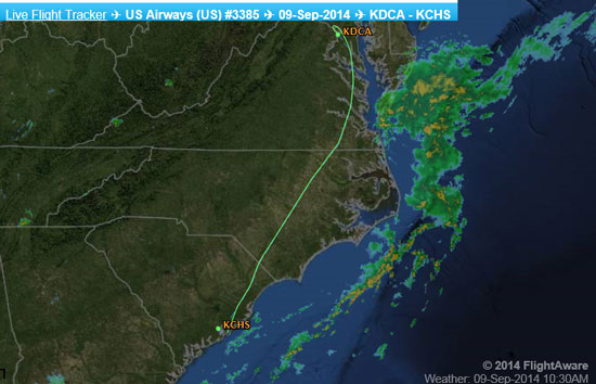 MAP OF FLIGHT PATH OF US AIRWAYS 3385 ON 9/9/2014.