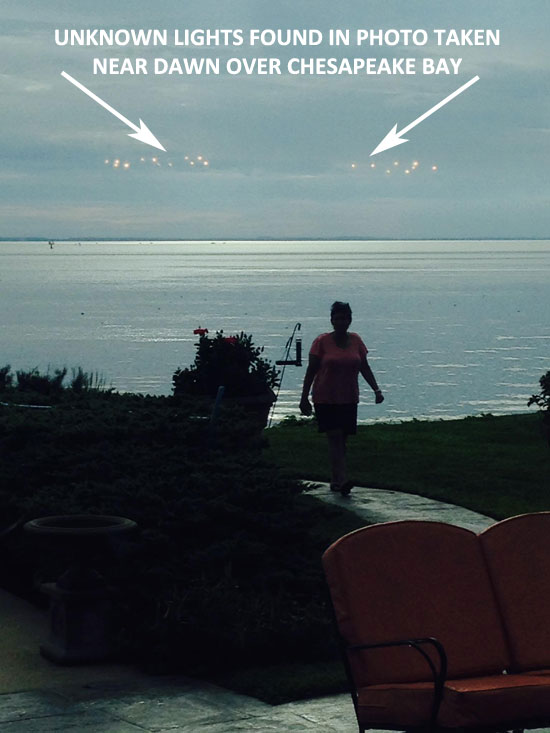 PHOTO OF UNKNOWN LIGHTS OVER CHESAPEAKE BAY.