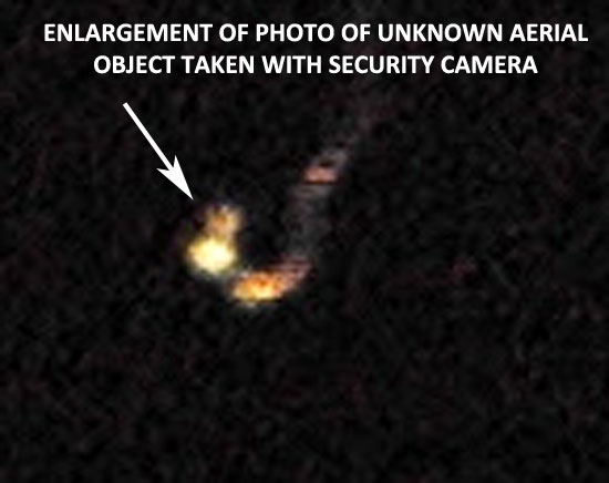 ENLARGEMENT OF 1 OF PHOTOS TAKEN OF UNKNOWN AERIAL OBJECT TAKEN WITH SECURITY CAMERA.