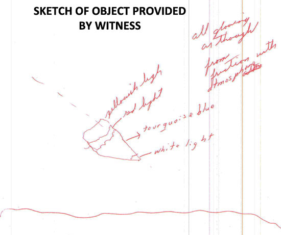 SKETCH OF DESCENDING OBJECT PROVIDED BY WITNESS.