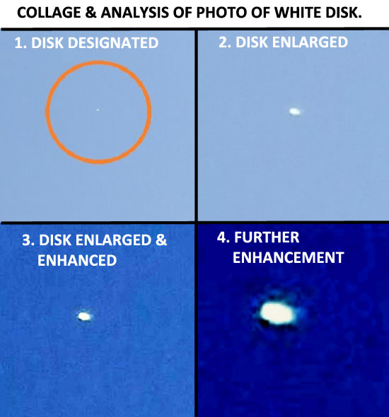 COLLAGE OF PHOTO & ANALYSIS OF WHITE FLYING DISK.