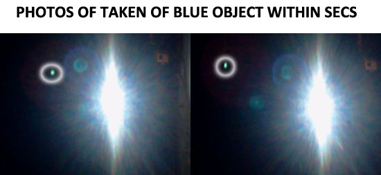 2 PHOTOS OF BLUE OBJECT TAKEN WITHIN FEW SECONDS. (OBJECT HAS BEEN HIGHLIGHTED WITH A CIRCLE.)