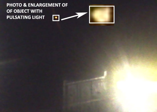 PHOTO & ENLARGEMENT OF OBJECT WITH PULSATING LIGHT.