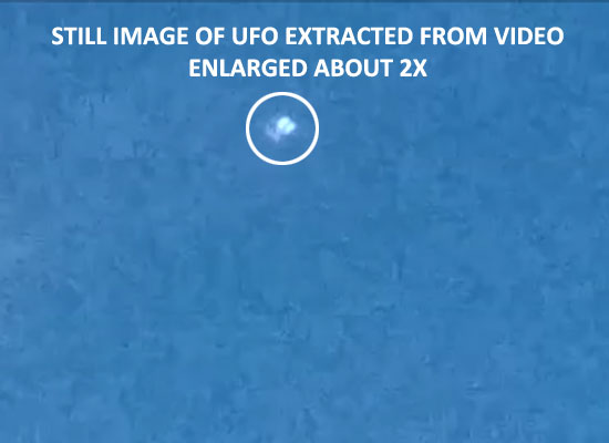 STILL IMAGE OF UFO EXTRACTED FROM VIDEO.