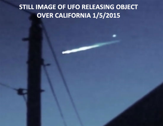 STILL IMAGE EXTRACTED FROM VIDEO OF UFO THAT RELEASED AN OBJECT.