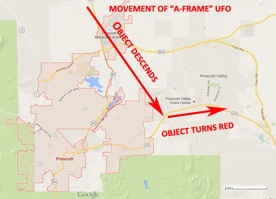 "MAP SHOWING PATH OF ""A-FRAMED"" UFO."