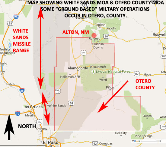 MAP SHOWING SHOWING WHITE SANDS & OTERO COUNTY MOA'S.