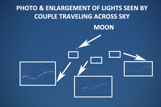PHOTO & ENLARGEMENTS OF ORBS OF LIGHT SEEN BY WITNESSES.