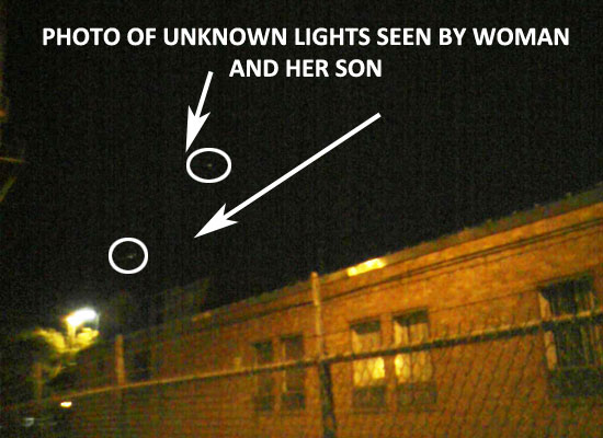 PHOTO OF 2 OF LIGHTS SEEN BY WOMAN & HER SON.