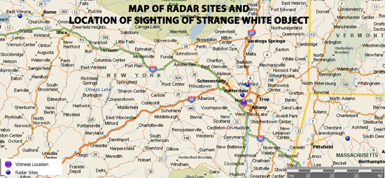 MAP SHOWING 4 RADAR SITES USED TO ANALYZE V SHAPED UFO SIGHTING.