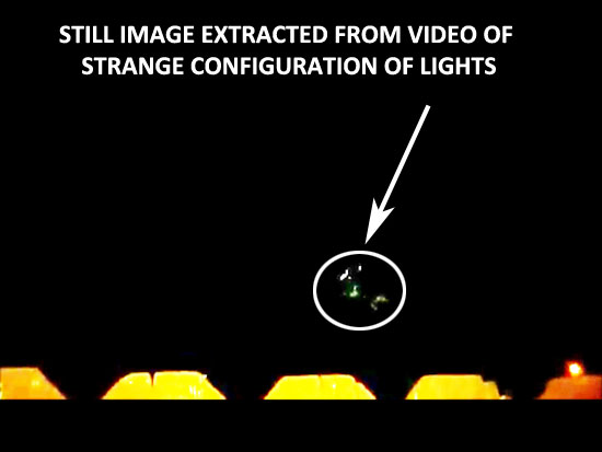 STILL IMAGE OF STRANGE CONFIGURATION OF LIGHTS EXTRACTED FROM VIDEO.