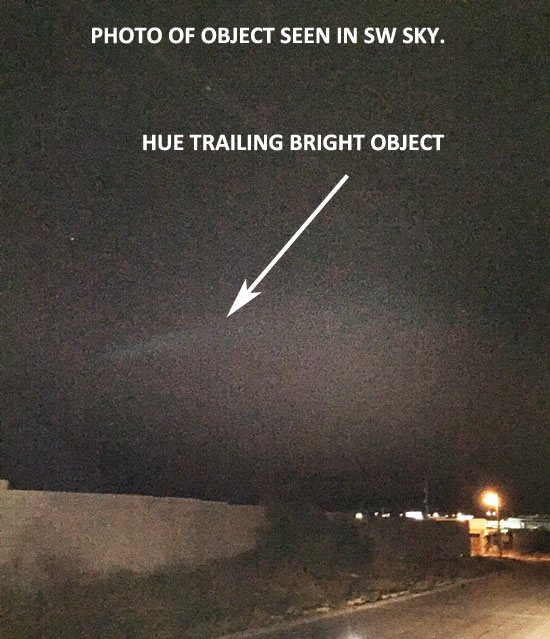 "PHOTO OF OBJECT SHOWS ""TRAILING DEBRIS."""