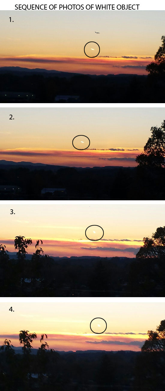 SEQUENCE OF PHOTOS OF WHITE OBJECT.