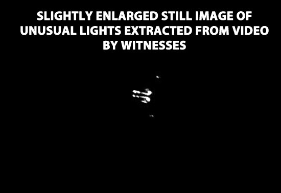 STILL IMAGE OF UNUSUAL LIGHTS EXTRACTED FROM VIDEO BY WITNESSES.