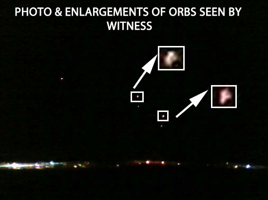 PHOTO & ENLARGEMENTS OF ORBS SEEN BY WITNESS.