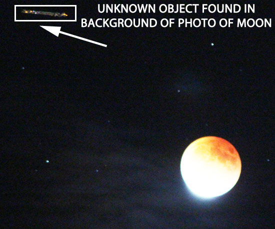 THE 1ST OF 2 PHOTOS OF UNKNOWN OBJECT FOUND IN BACKGROUND OF MOON PHOTO.